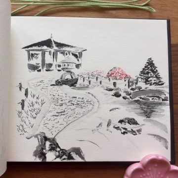 Japanese garden sketch